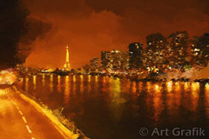 seine night reflections, eiffel tower painting