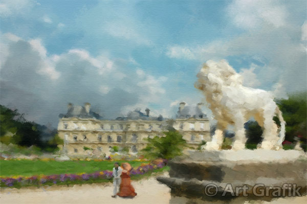 A STROLL THROUGH LUXEMBOURG PARK, art canvas, painting, limited edition, signed