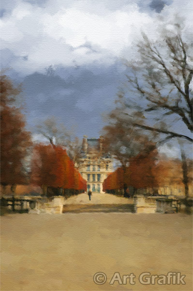 AUTUMN IN TUILERIES, art canvas, painting, limited edition, signed