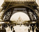 Central Dome and The Eiffel Tower, Old Photograph, Paris